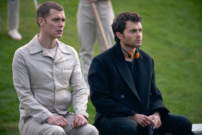 BRAVE NEW WORLD -- Episode 108 -- Pictured: (l-r) Joseph Morgan as Cjack 60/57, Alden Ehrenreich as John the Savage -- (Photo by: Steve Schofield/Peacock)